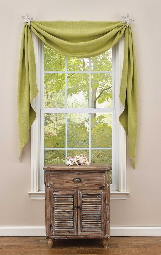 Window Curtain Lined Fishtail Swag Crawford In Aloe By