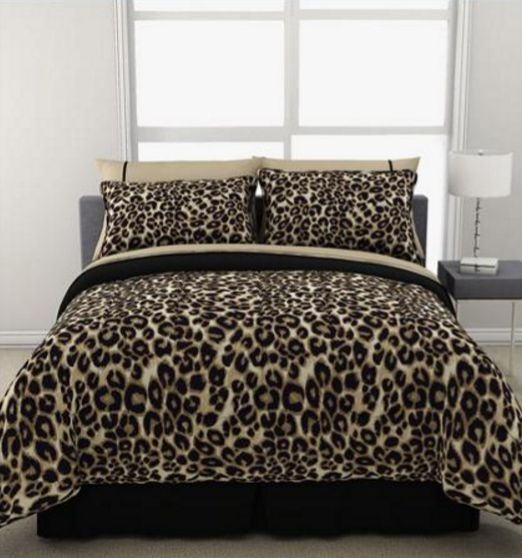 leopard print reversible bed set sheets comforter animal bedding set