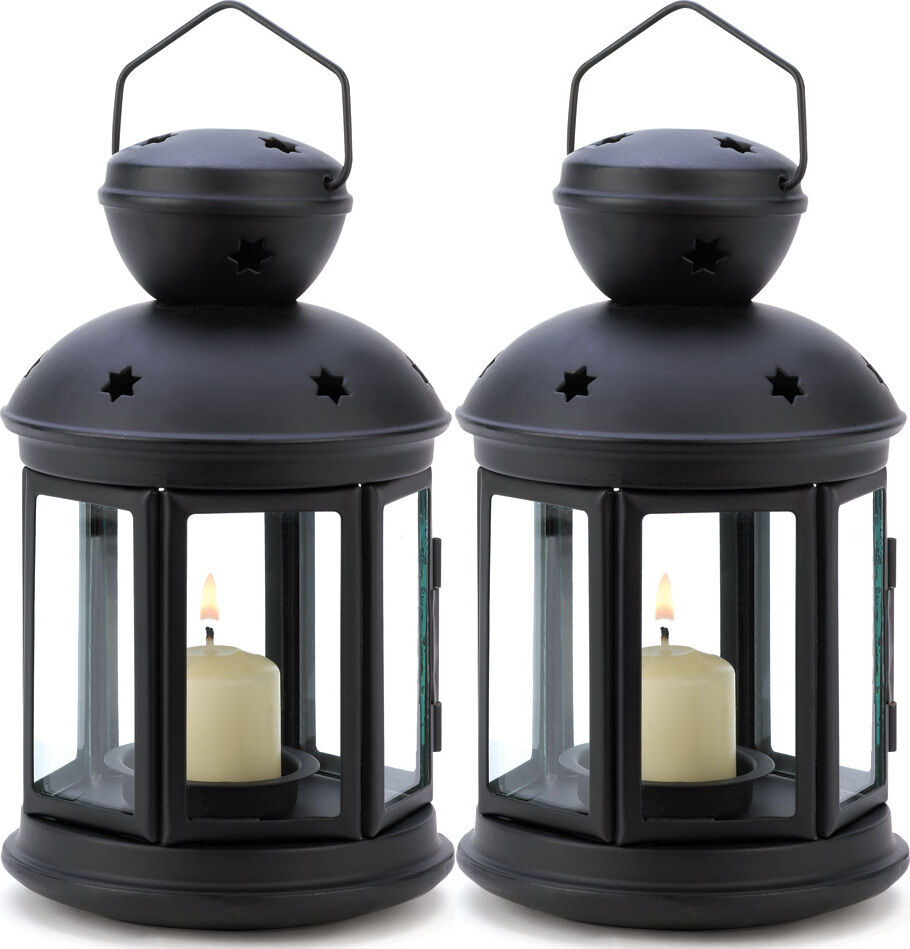 Black candle holder lantern light outdoor terrace