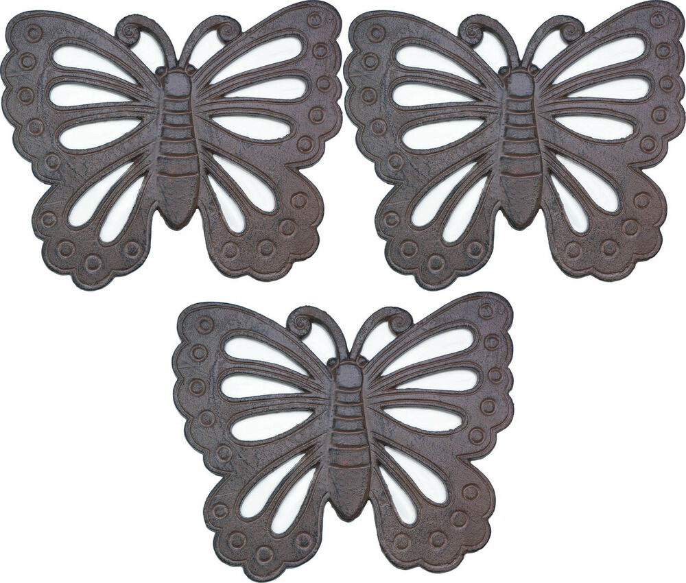 """3 BUTTERFLY RUSTIC STEPPING STONE CAST IRON 14"""" OUTDOOR ..."""