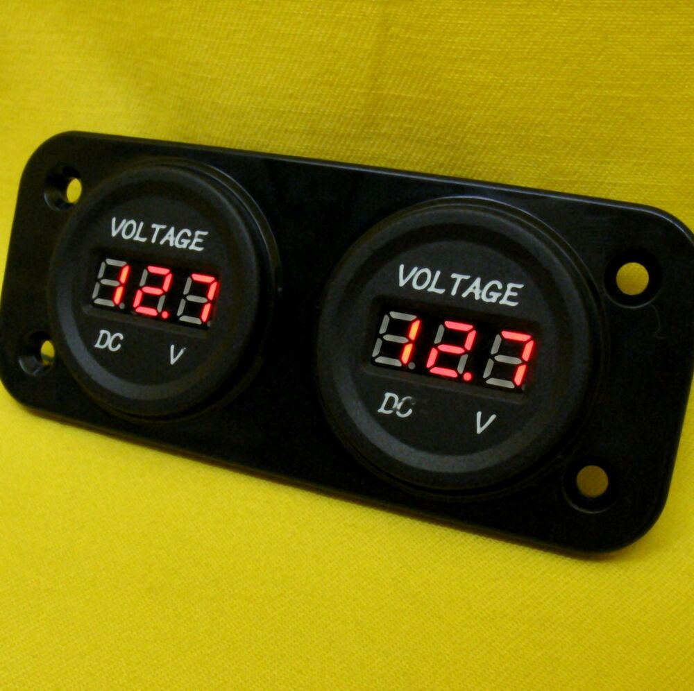 Battery 24 Volt Hour Meter : Volt gauge led meter v dc dual battery batteries red