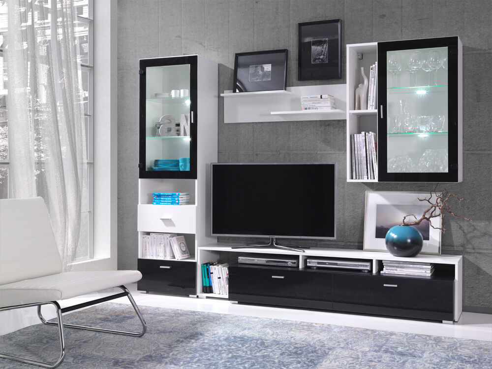 Living Room Furniture TV Stands Cabinet Cupboard Wall Unit White Black Gloss