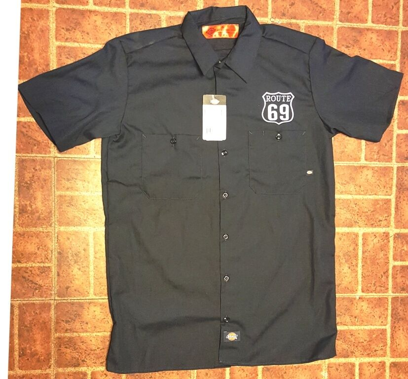 New custom dickies ls 535 navy embroidered route 69 logo for Embroidered dickies work shirts