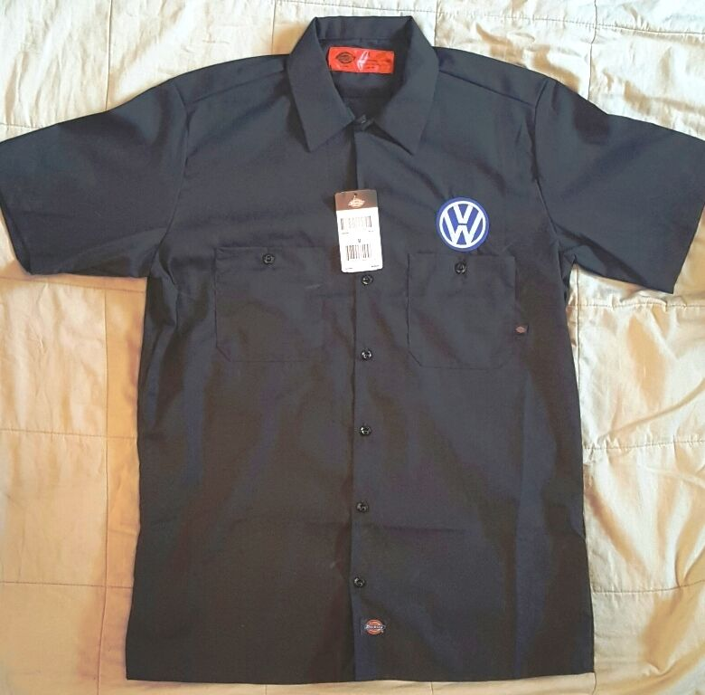 New custom dickies ls535 navy embroidered vw volkswagen for Embroidered dickies work shirts
