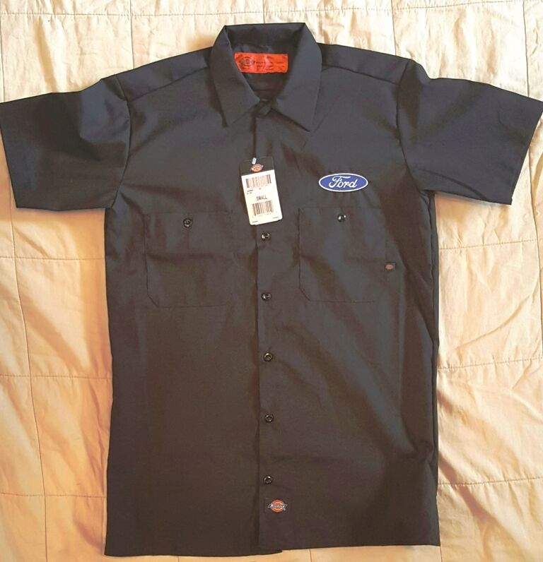 New custom dickies ls535 black embroidered ford logo for Embroidered dickies work shirts