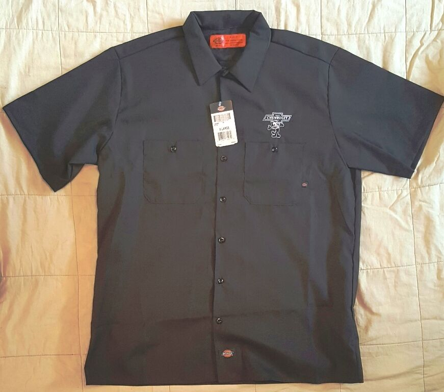 New dickies black embroidered felix the cat chevrolet for Embroidered dickies work shirts