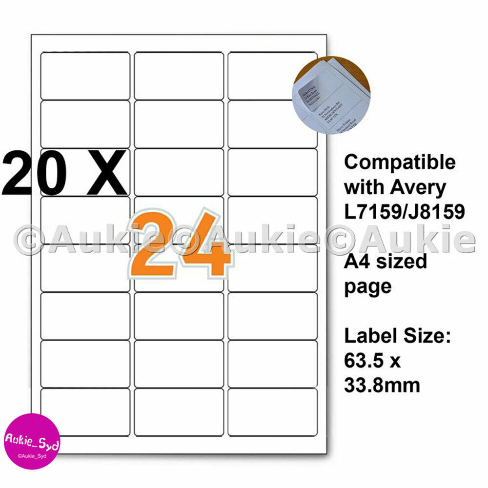 Download Avery 5160 Compatible Labels Avery 5260 5970 5971: 480 X Avery Compatible L7159/J8159 63.5x33.8mm Mailing