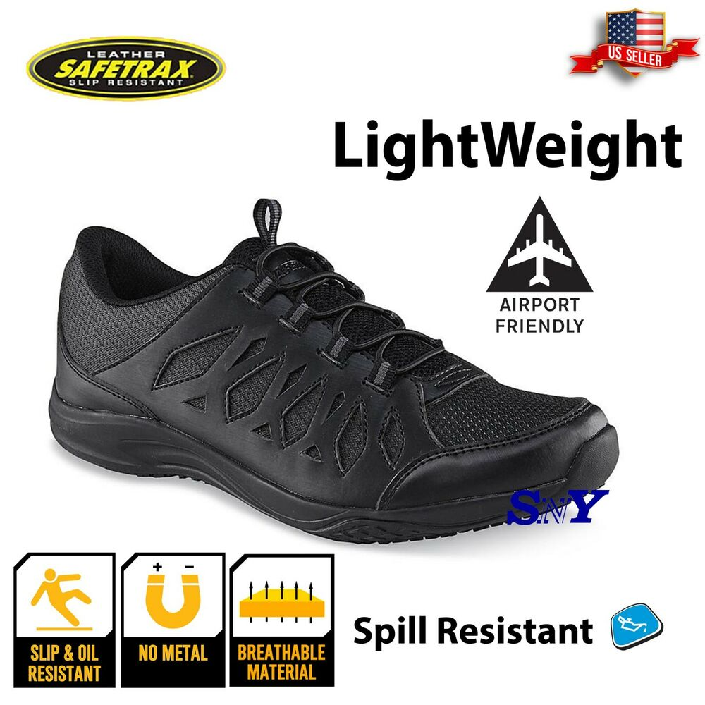 womens black slip resistant snth leather work shoe