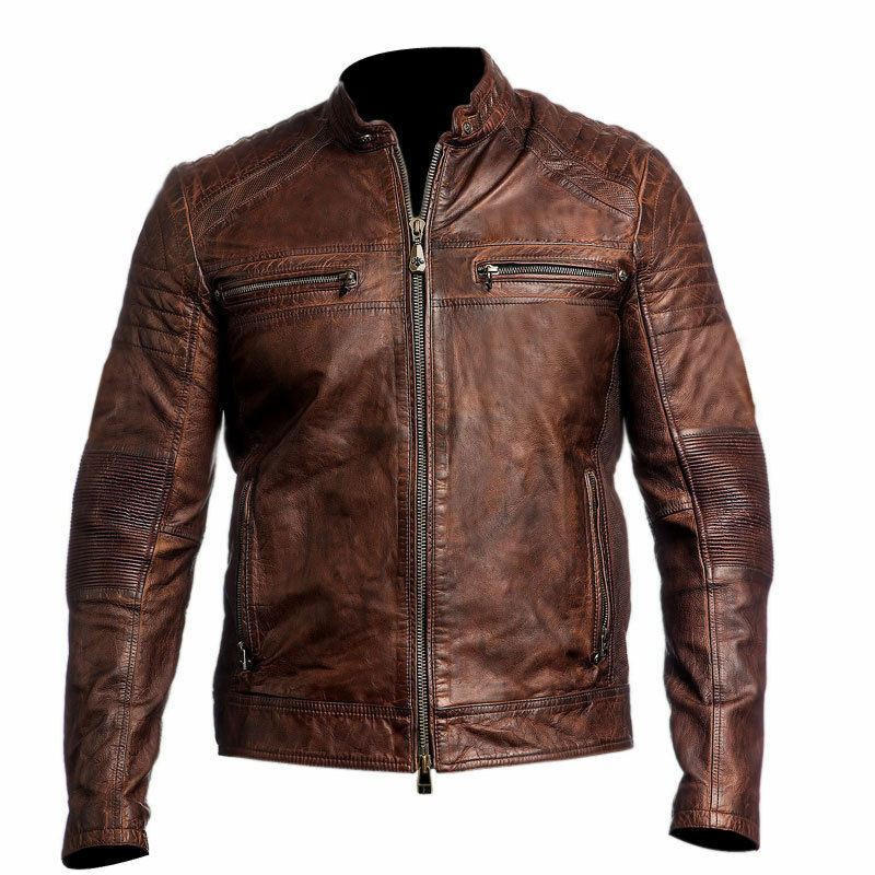 Mens Biker Vintage Motorcycle Cafe Racer Brown Distressed Leather ...