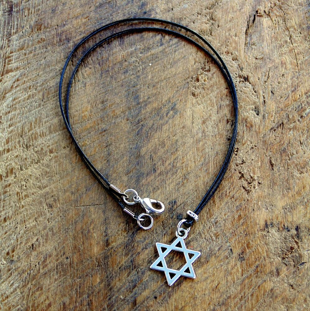 Men necklace black cord necklace star of david pendant for Star of david necklace mens jewelry