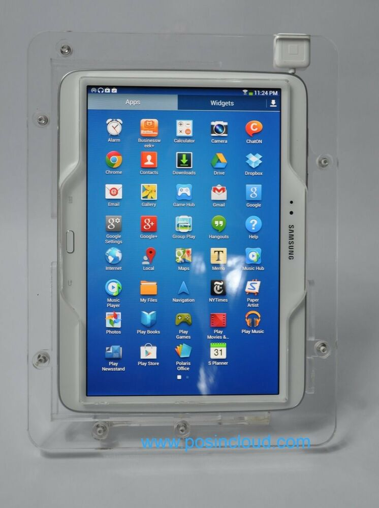 samsung galaxy tab 4 10 1 clear acrylic vesa desktop wall mount security case ebay. Black Bedroom Furniture Sets. Home Design Ideas