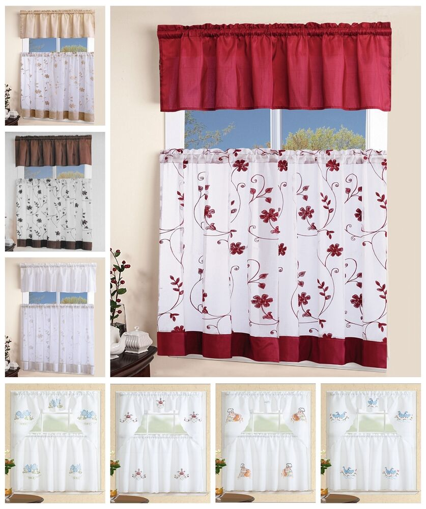 3 Piece White Embroidered Kitchen Curtain With Swag And Tier Window Curtains Set Ebay