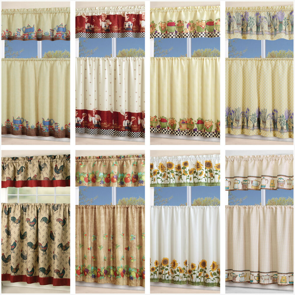 Blue Green Kitchen Curtains: 3 Piece Floral Kitchen Curtain With Swag And Tier Window