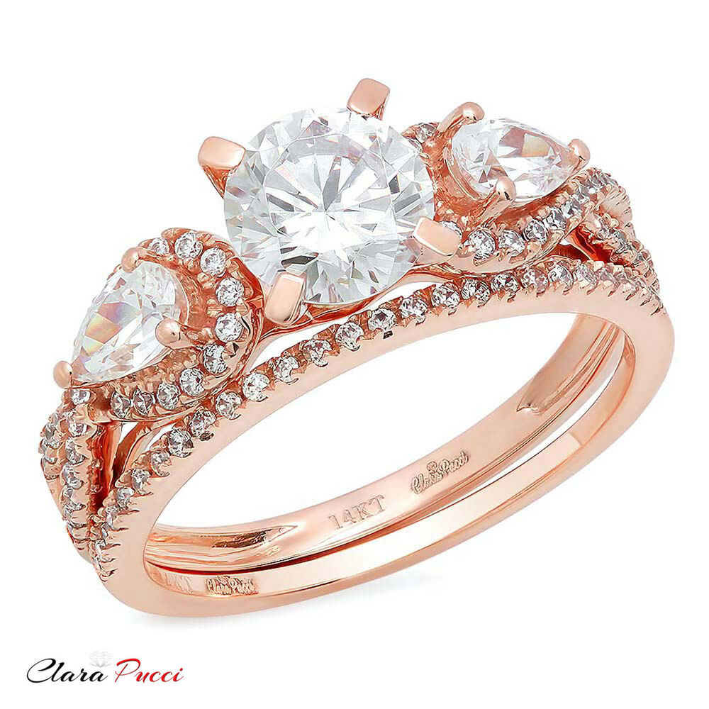 carat round engagement bridal ring band set diamond simulant 14k rose gold ebay. Black Bedroom Furniture Sets. Home Design Ideas