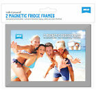 2 x Silver Magnetic Photo Fridge Frames (Holds 6x4 inch photo)