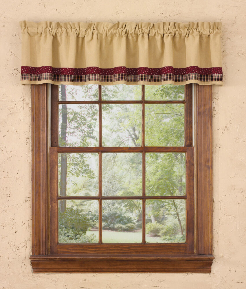 Window curtain lined valance my country home by park for Home drapes and curtains