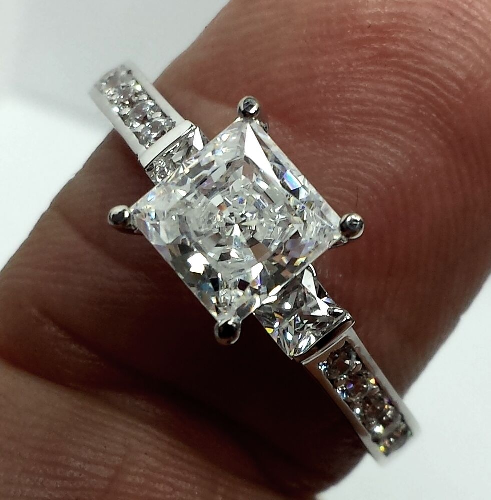 real 14k solid white gold princess cut engagement ring ebay. Black Bedroom Furniture Sets. Home Design Ideas