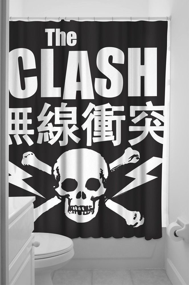 The clash shower curtain new skull joe strummer 1977 punk for Punk rock bathroom decor
