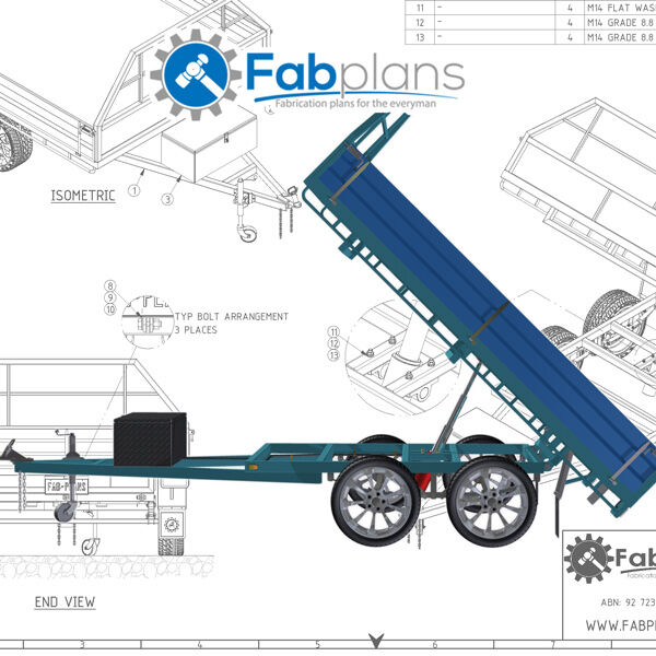 10 39 x7 39 tipper trailer plans build your own tandem axle for How to build a trailer plans free