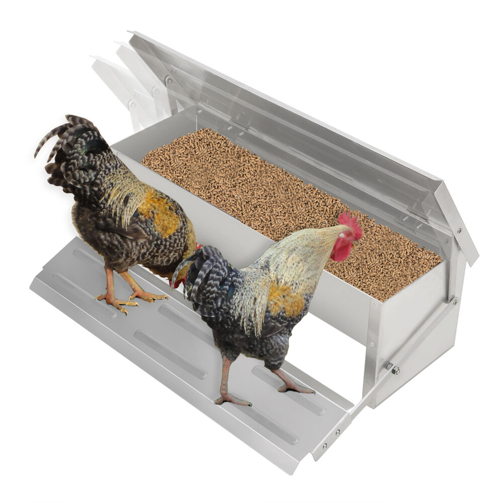 Chicken Feeder Auto Treadle Self Opening Aluminium Feed