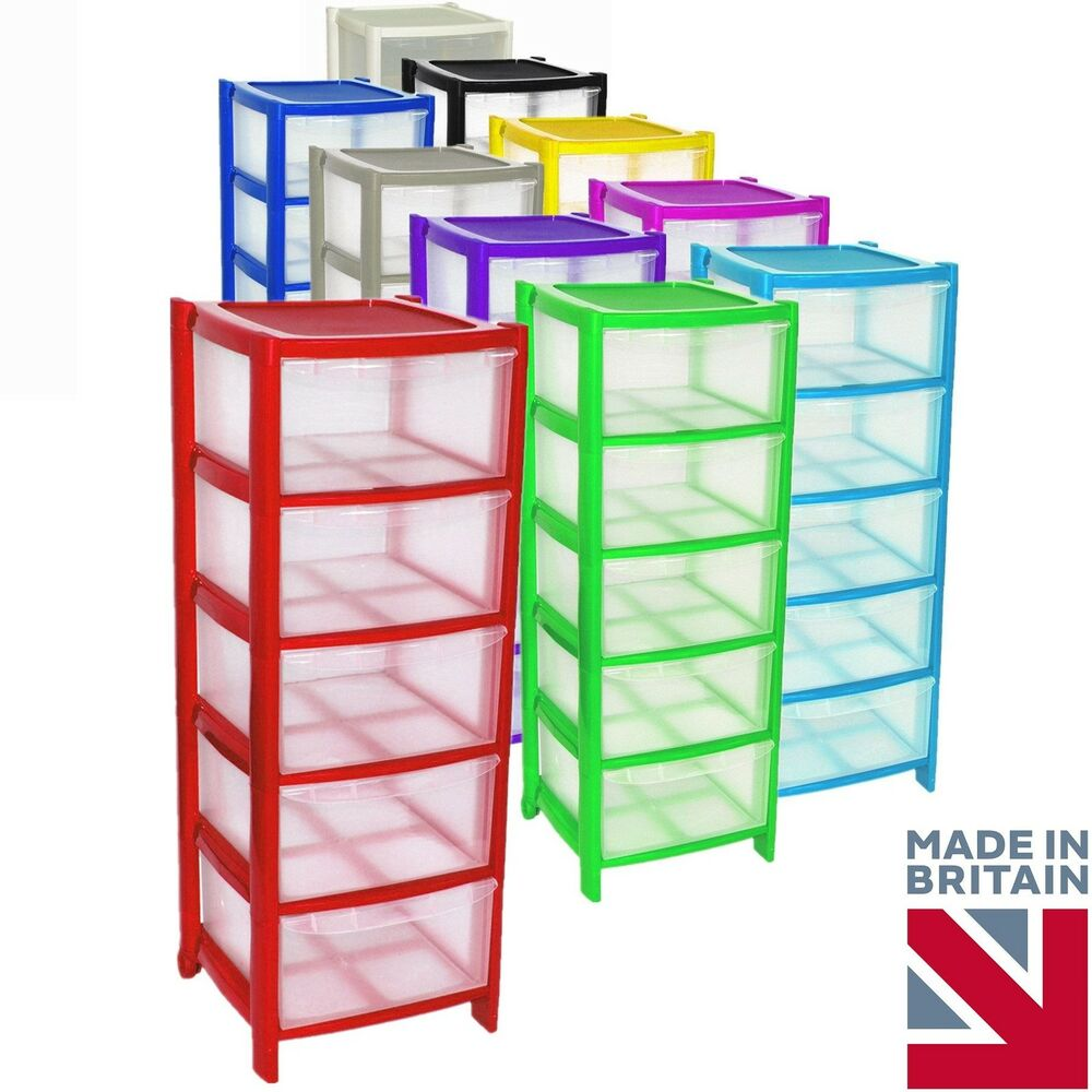 5 Drawer Plastic Large Tower Storage Drawers Chest Unit