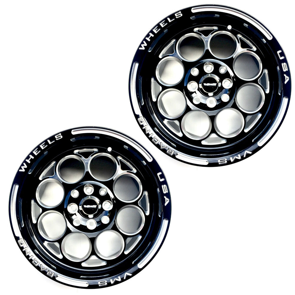 2x 15X8 MODULO RACING RIMS WHEELS BLACK MILLING FINISH