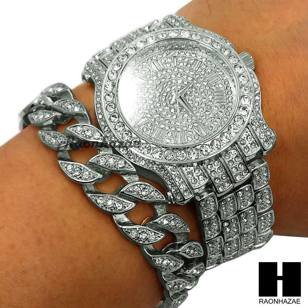 Techno Pave Iced Out Finished Lab Diamond Silver Watch