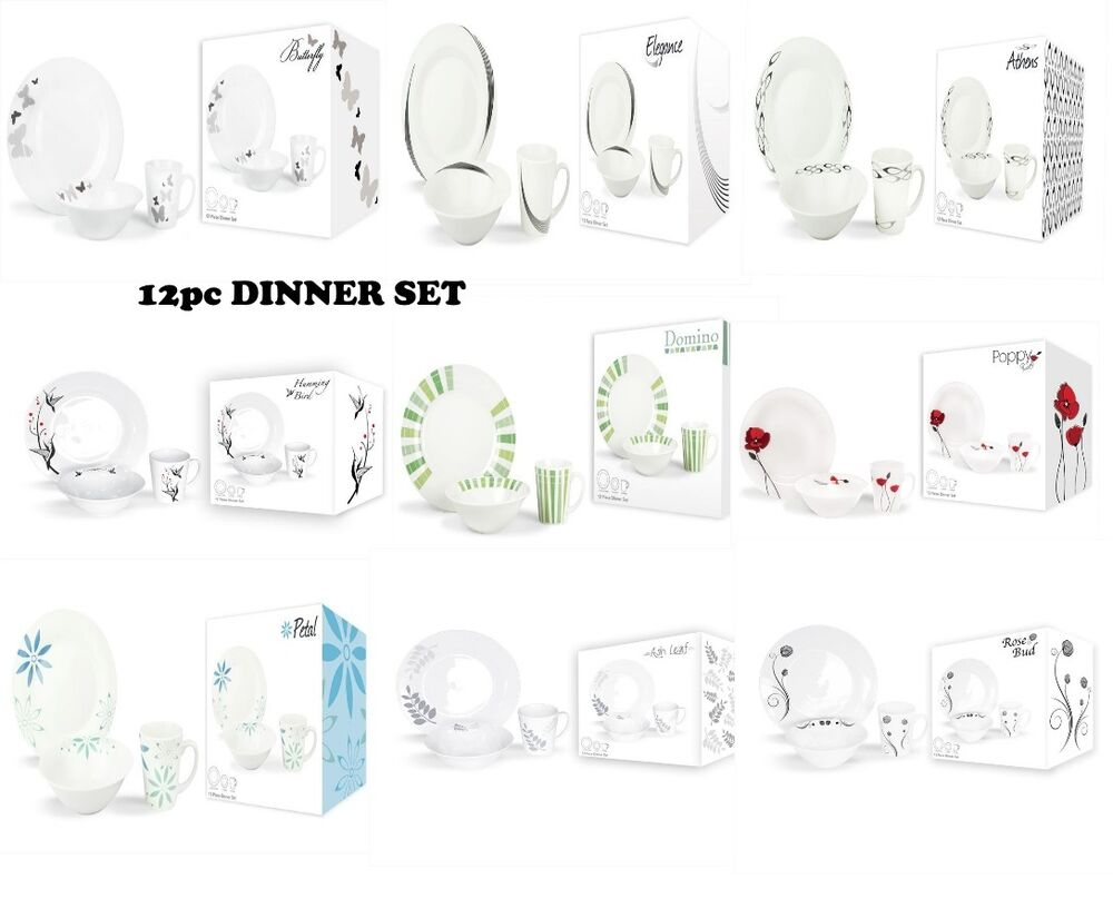 12pc DINNER SET DINING TABLEWARE DINNER PLATES PORCELAIN MUGS BOWLS EBay