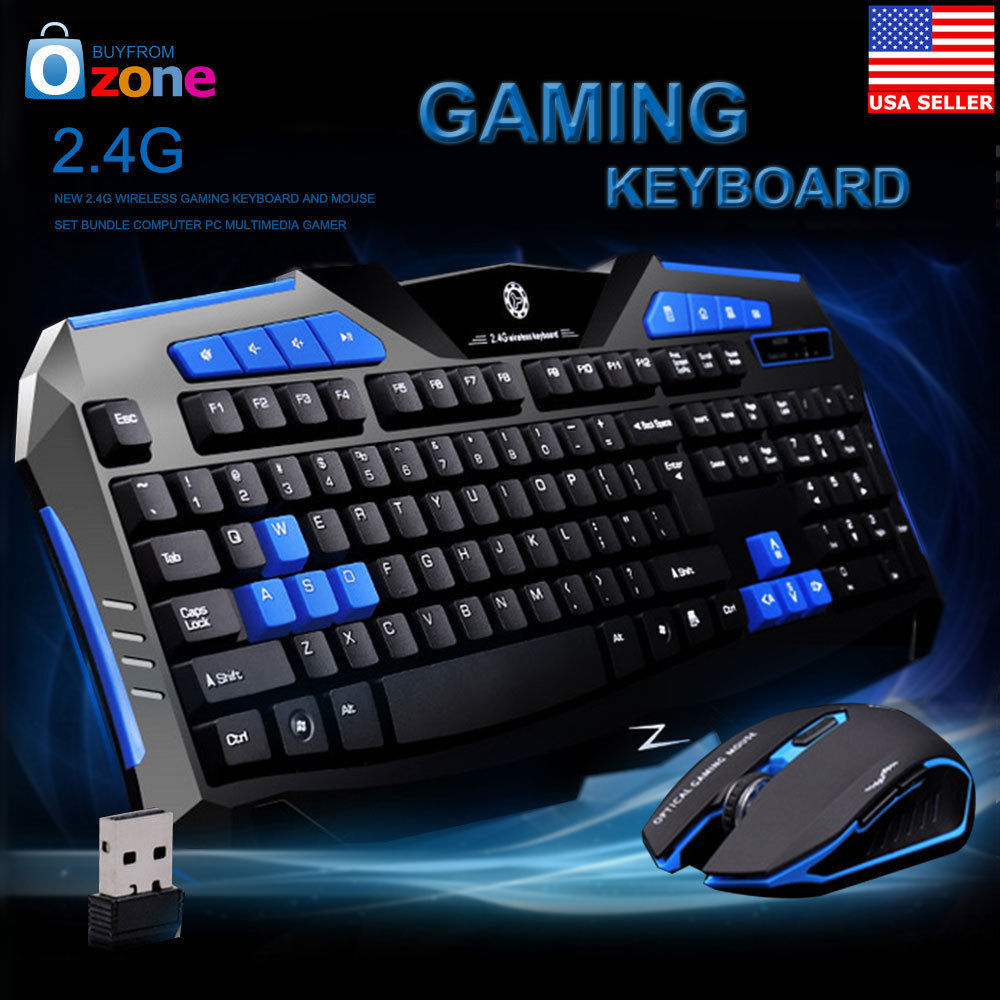 gaming wireless 2 4g keyboard and mouse set kit for computer pc multimedia gamer ebay. Black Bedroom Furniture Sets. Home Design Ideas
