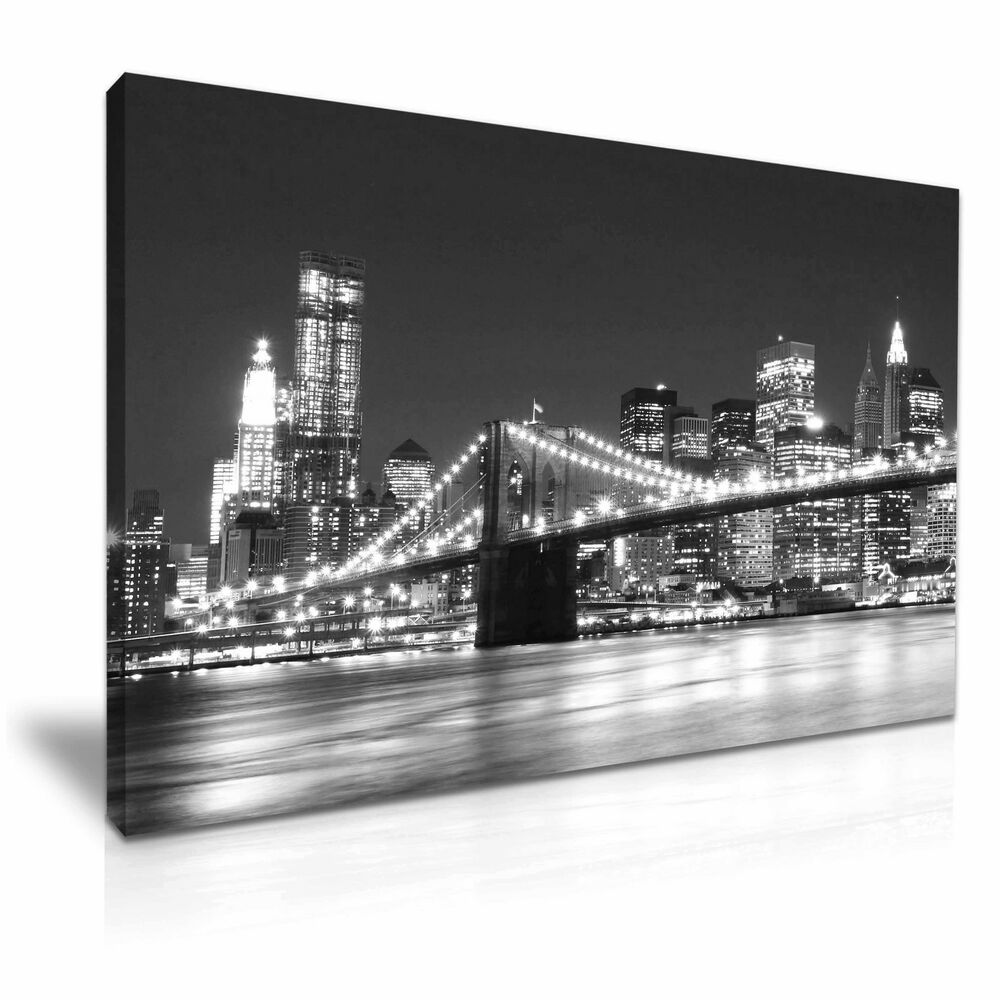 New York Manhattan Brooklyn Bridge Night Canvas Wall Art ...