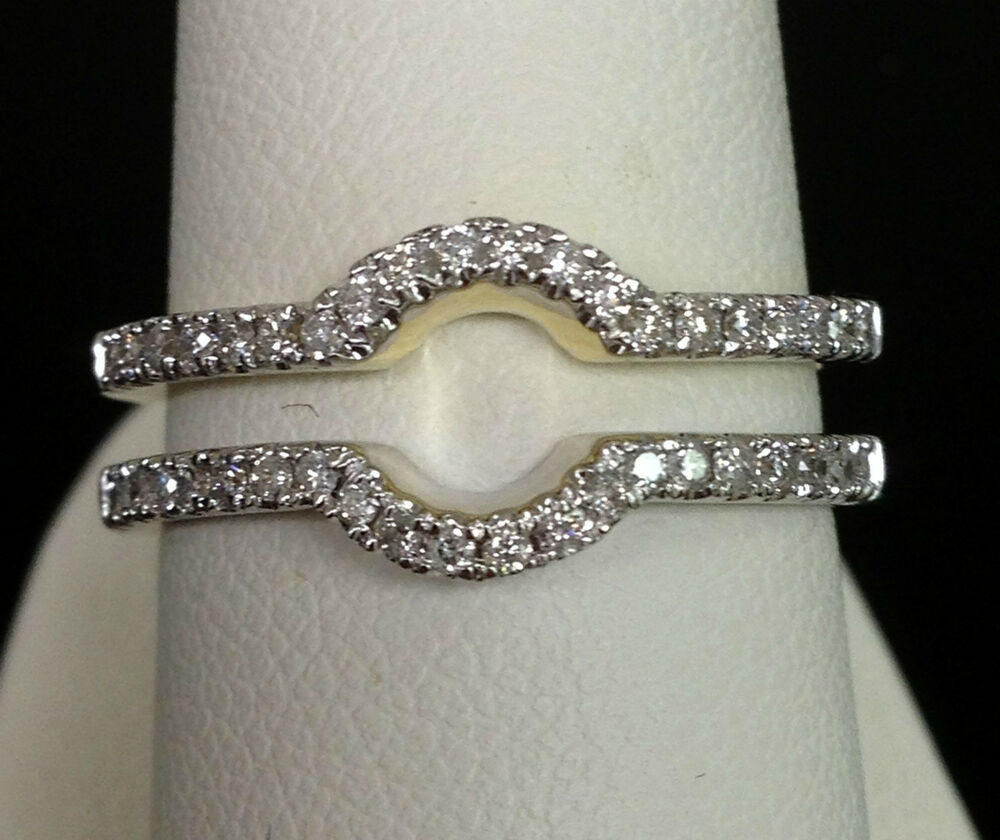 diamonds ring guard wrap 14k yellow gold wedding contour band ebay