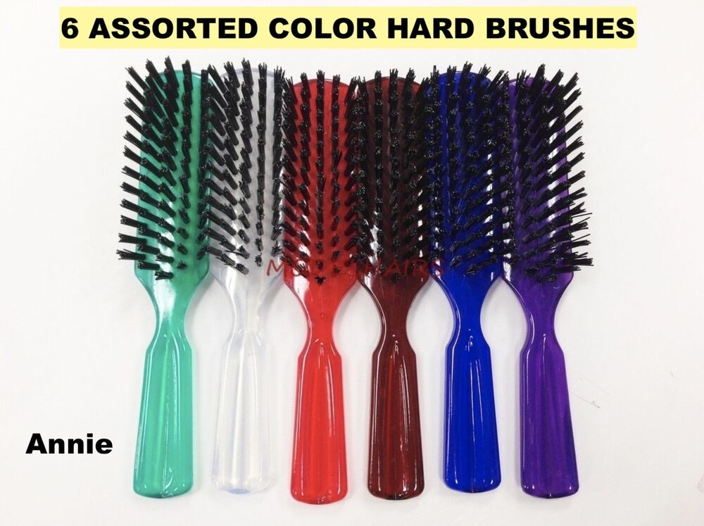 Annie 6 Assorted Colors Hard Brush For Hair Daily Brush 8