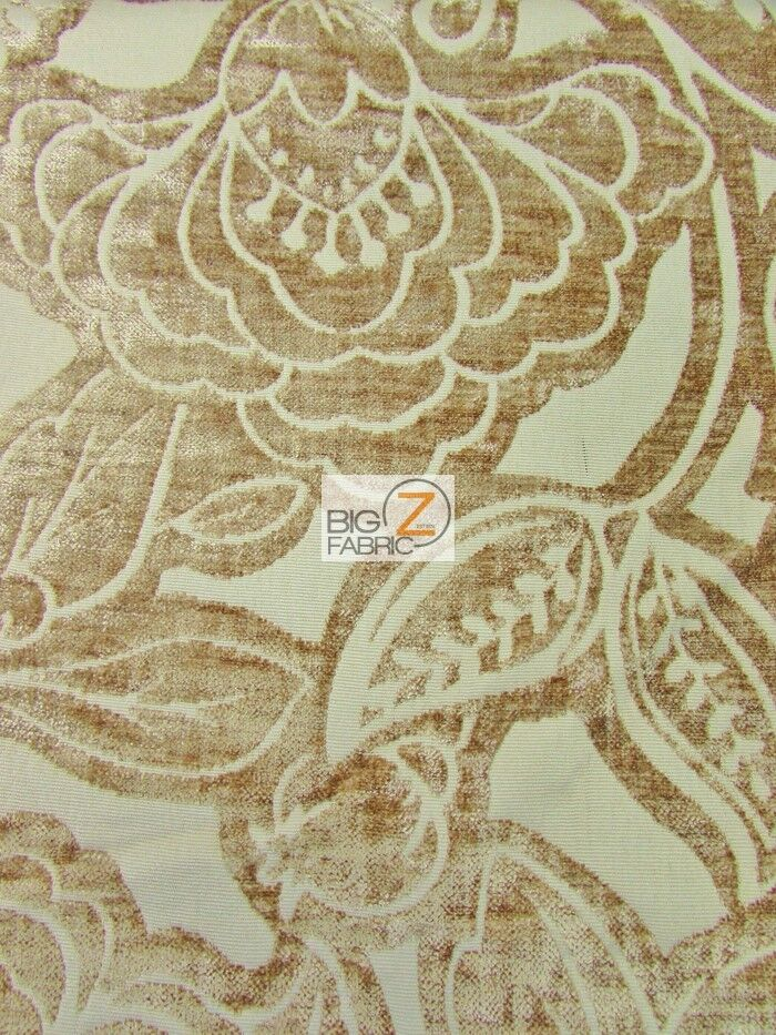 FLORAL KINGDOM CHENILLE UPHOLSTERY FABRIC Linen BY