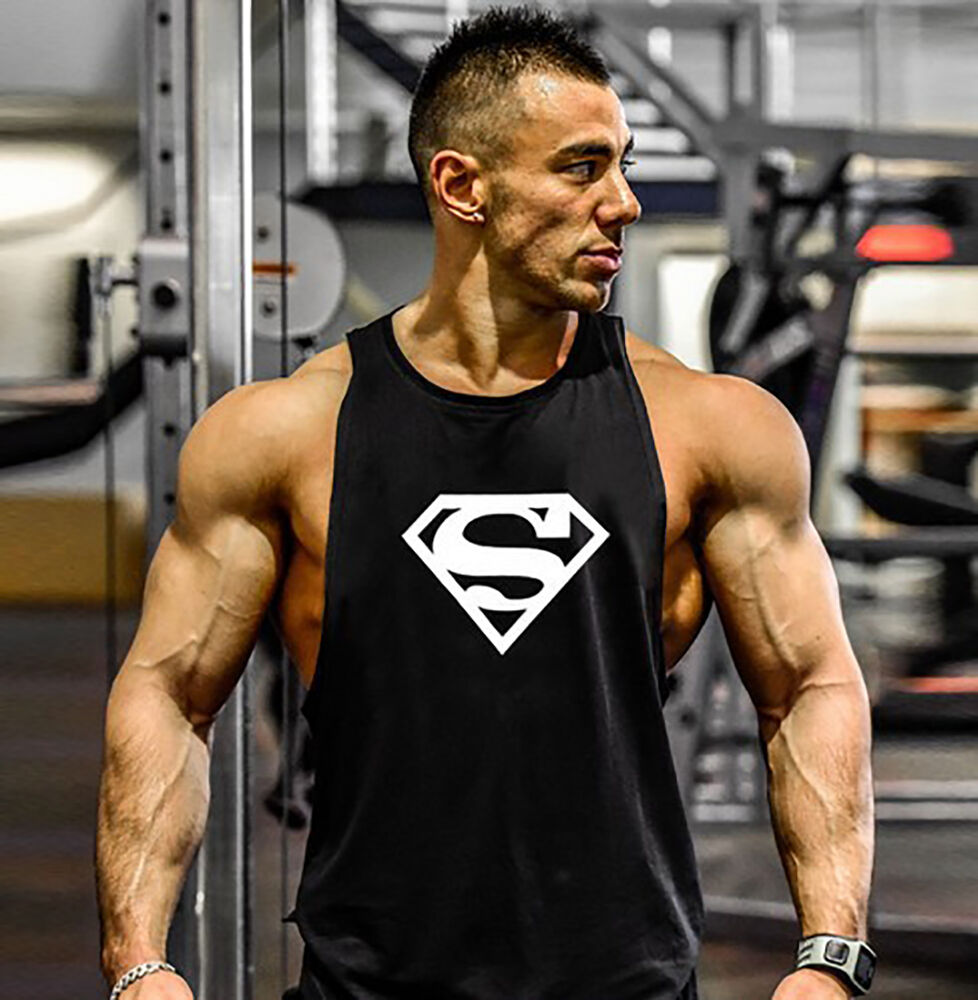 Gym mens superman bodybuilding tank tops clothing fitness for Dress shirts for bodybuilders