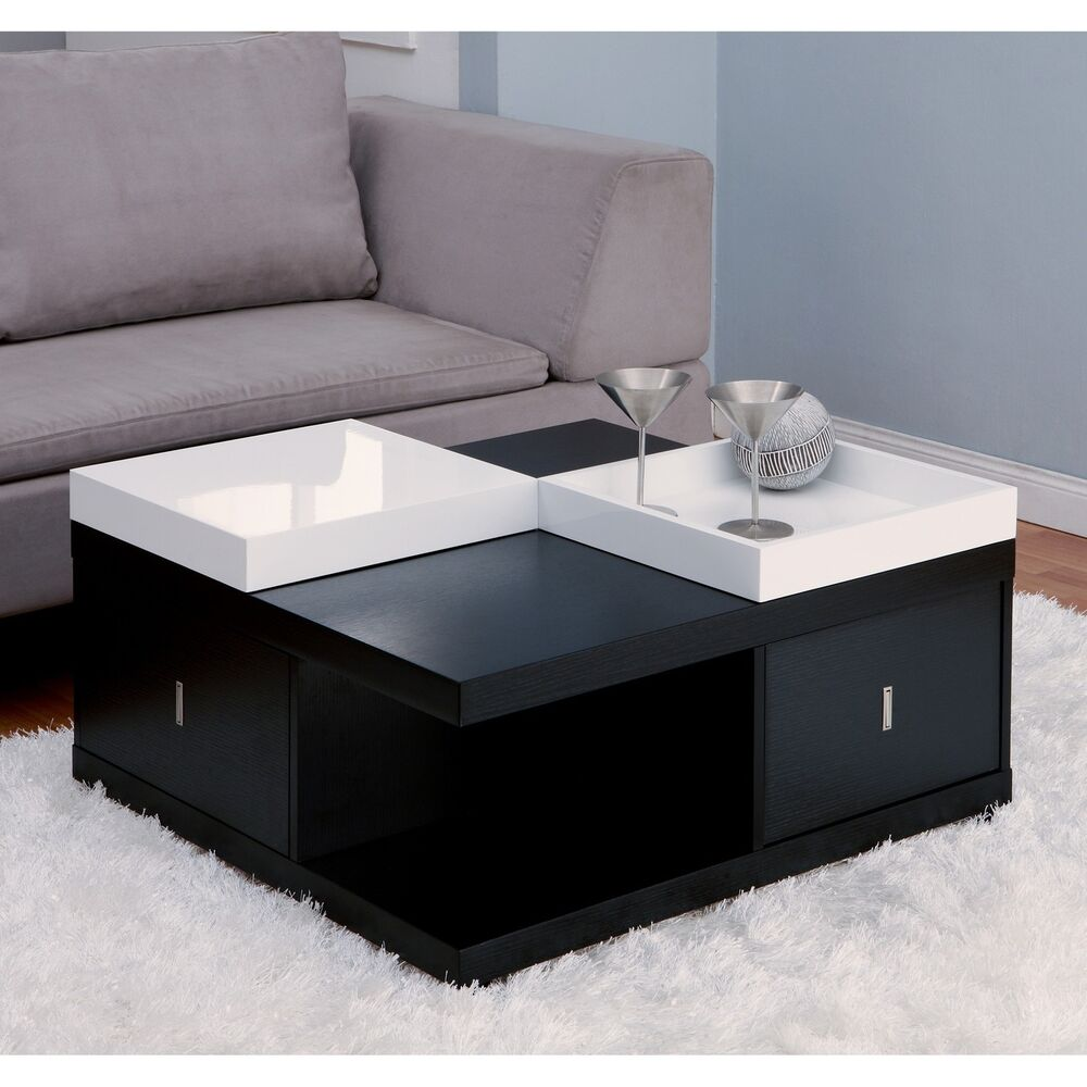 Contemporary Coffee Table Wood Modern Storage Drawer Living Room Furniture New Ebay