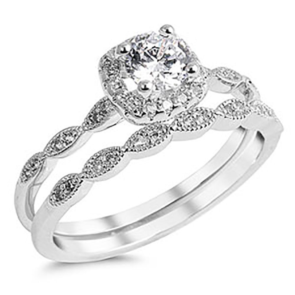 vintage wedding rings sets sterling silver 925 cz halo vintage style engagement ring 8333