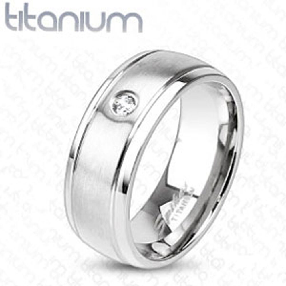Titanium Men S 8mm Cz Comfort Fit Wedding Band Ring Size 9 13 Ebay