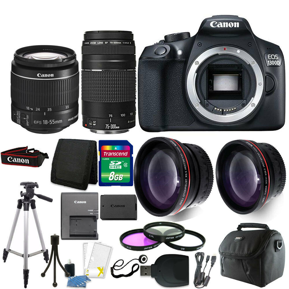 canon eos 1300d t6 18mp dslr camera 18 55mm 75 300mm. Black Bedroom Furniture Sets. Home Design Ideas