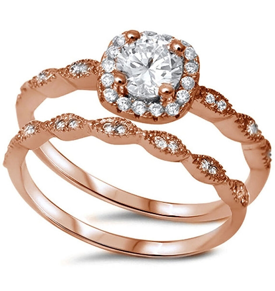 Sterling Silver .925 Rose Gold CZ Halo Antique Style