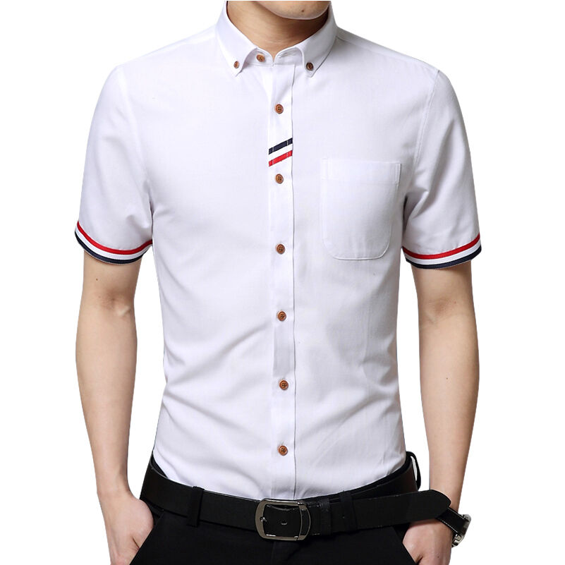 New mens luxury casual button collar short sleeve slim fit for Mens fitted short sleeve shirts