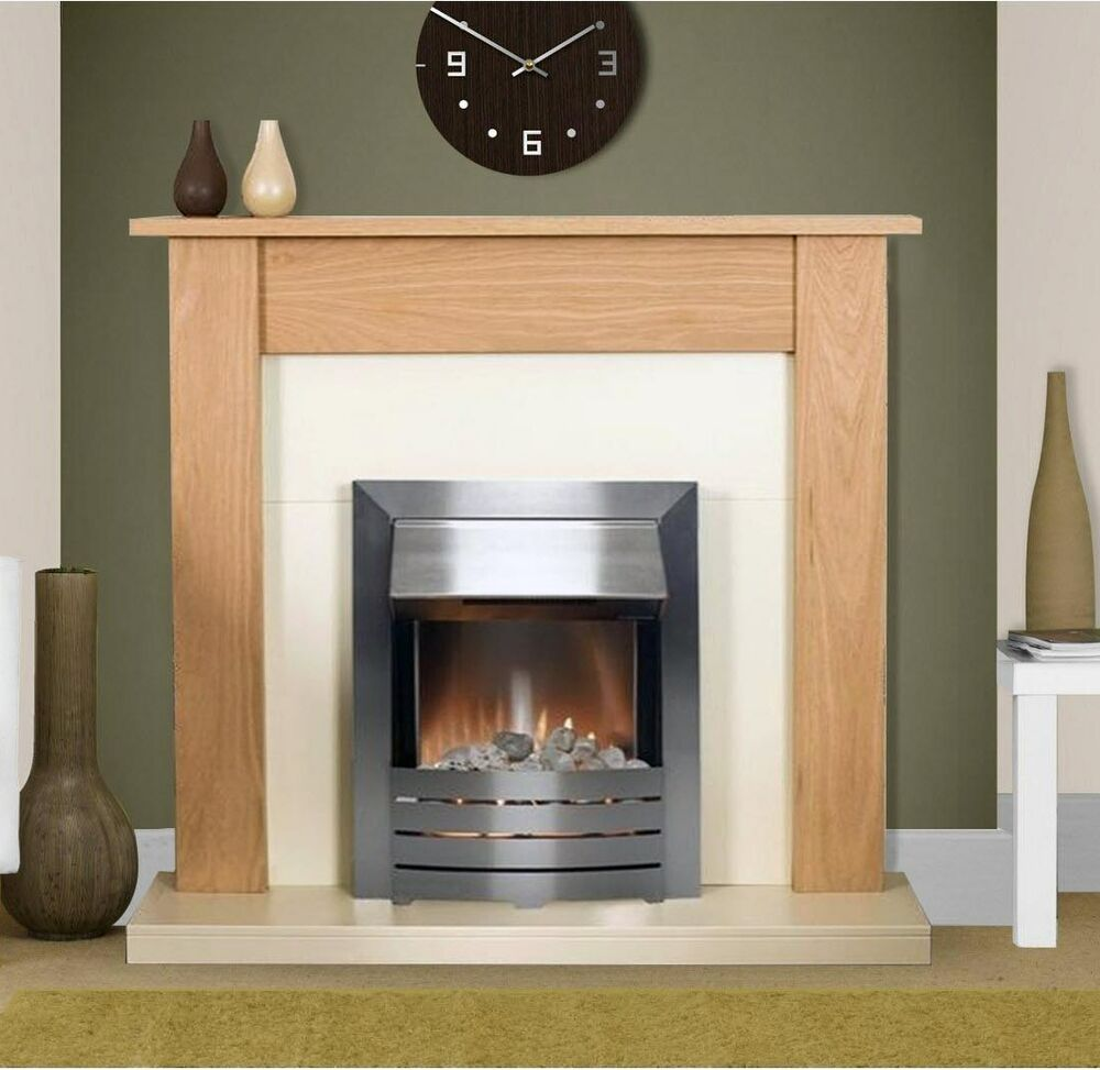 ELECTRIC FIRE OAK CREAM WOOD SURROUND SILVER FREESTANDING