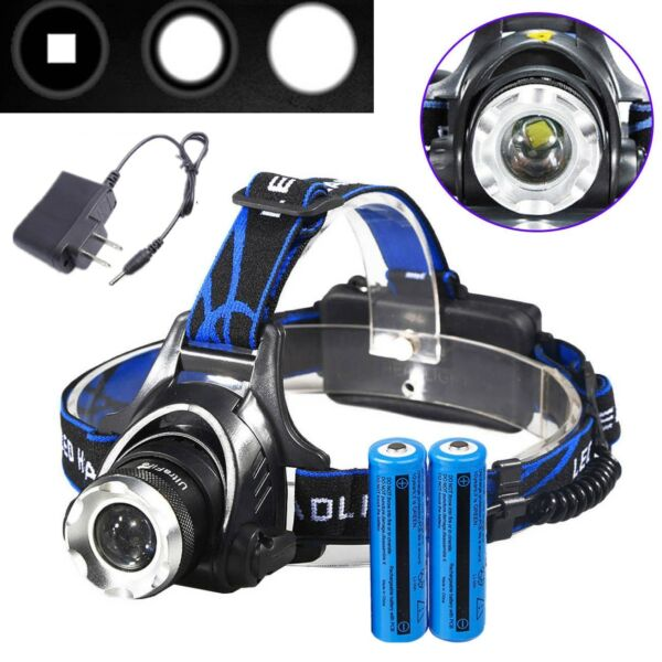 90000LM Powerful Headlamp Rechargeable LED Tactical Headlight+18650Batt+Charger