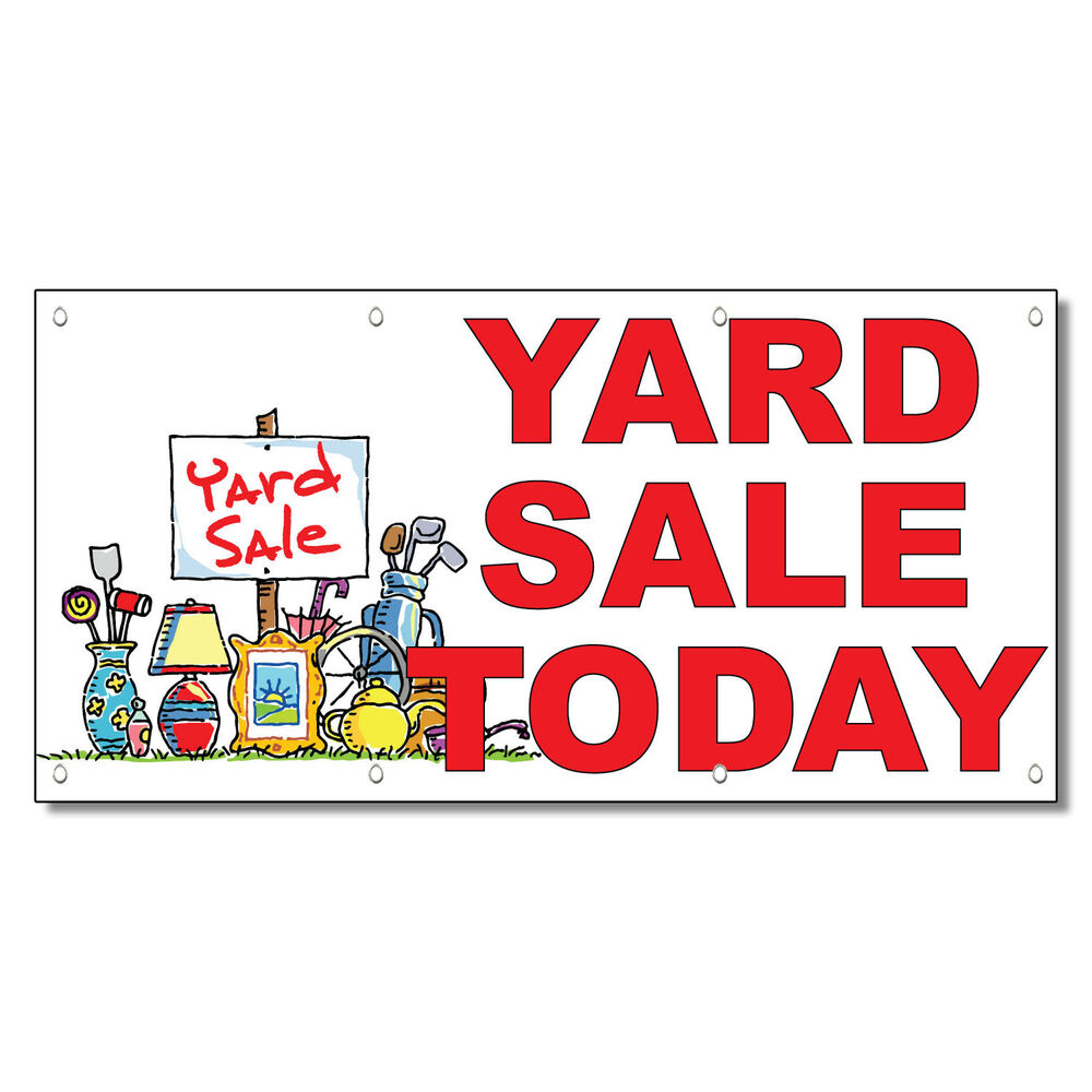 Yard Sale Today Red 13 Oz Vinyl Banner Sign With Grommets