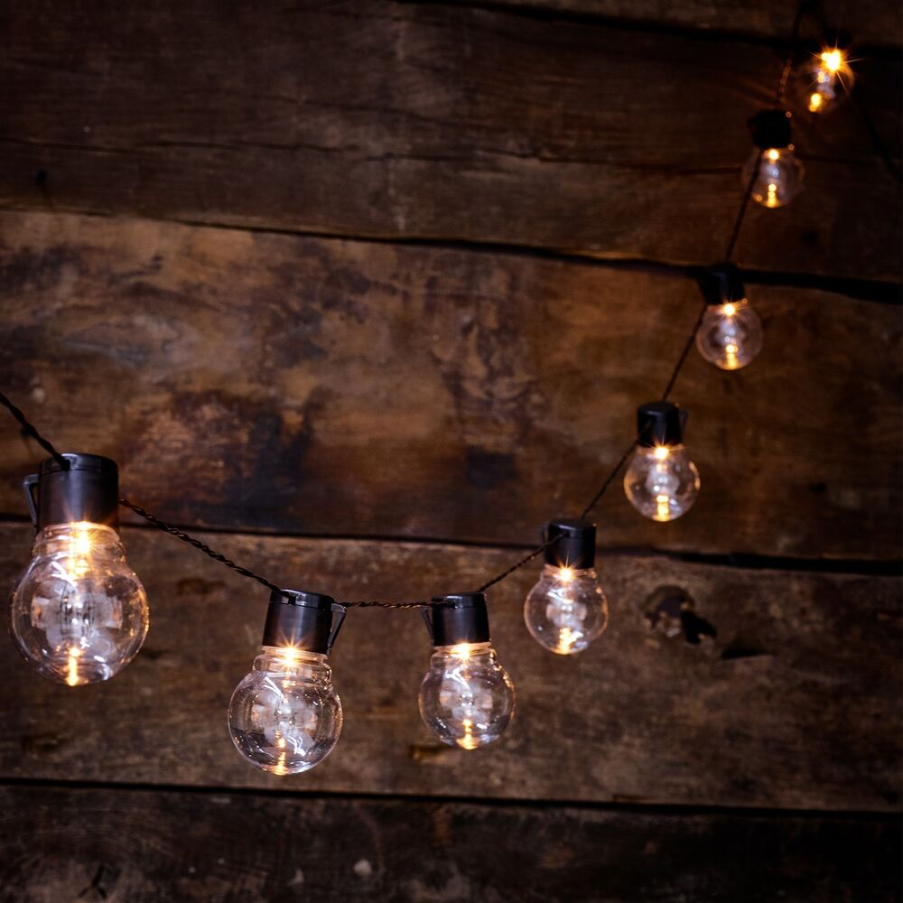 New solar powered retro bulb string lights for garden for Garden lights
