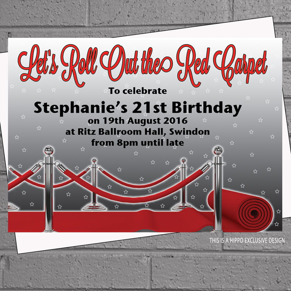 Details About Personalised Roll Out Red Carpet Birthday Party Invitations X 12 Env H0507