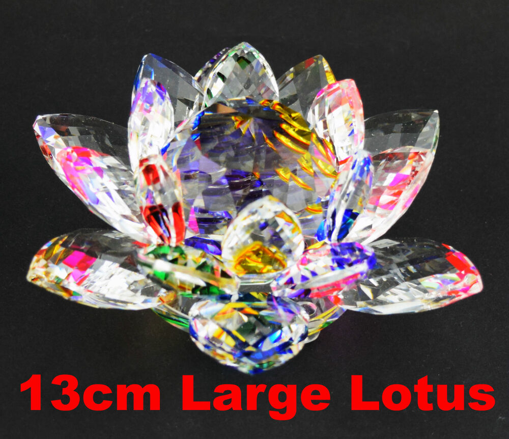 large crystal lotus flower ornament with gift box