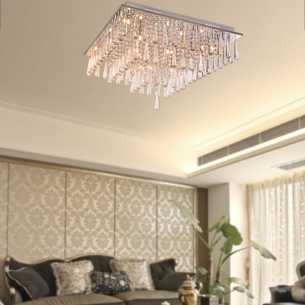 Flush Ceiling Chandeliers: Modern Crystal Ceiling Light Chandelier Flush Mount