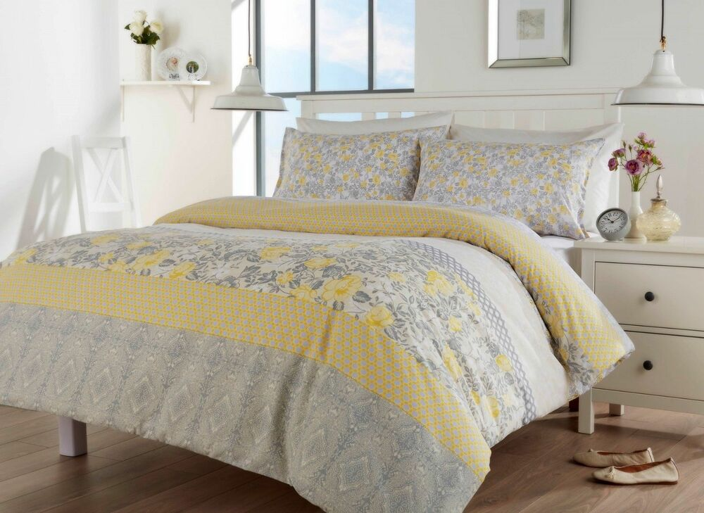 CHELSEA OCHRE FLORAL GREY YELLOW DUVET QUILT COVER SET