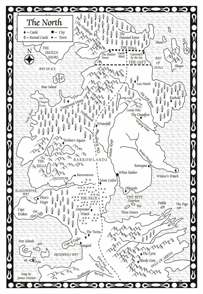 Framed Print – Game of Thrones Map of the North (Picture TV Program ...