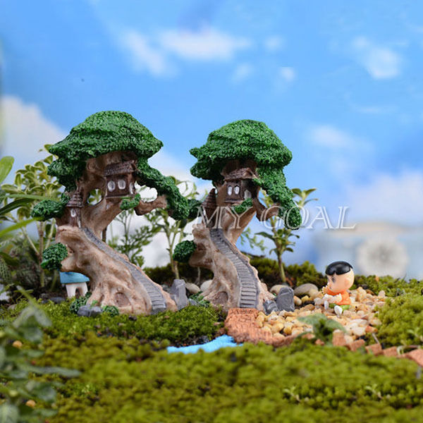 Old tree house garden ornament miniature figurine craft for Outdoor house ornaments